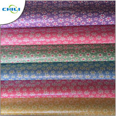 Colored Fake Leather Material , Faux Tooled Leather Fabric Vinyl Based For Diy Crafts