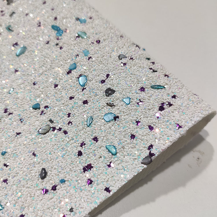 1.2mm 54/55' Fireproof PU Leather Sparkle Glitter Fabric